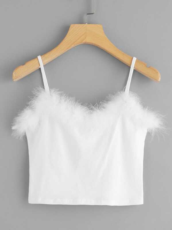 b621cff3bde Faux Fur Crop Cami Top