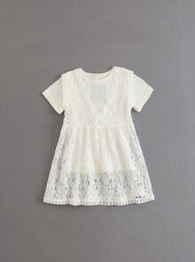 Girls Lace Dress With Ribbed Longline Tee