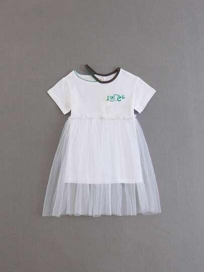 47c1d1aef0ca5 Girls Mesh Layered Letter Print Tee Dress