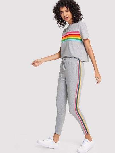 9d3efa0d61e9 Conjunto camiseta de rayas de arcoíris con pantalones deportivos