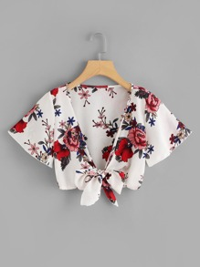 Knot Front Floral Print Crop Top
