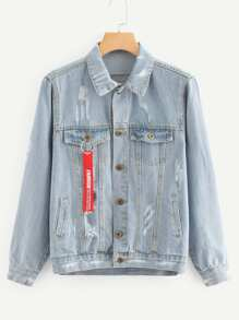 Letter Tape Detail Ripped Denim Jacket