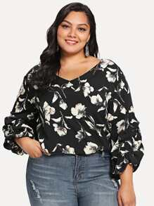 gathered sleeve floral top