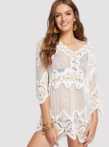 Floral Lace Insert Cover Up Top