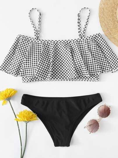 fab6175ff652d Plus Flounce Cold Shoulder Plaid Bikini Set | SHEIN
