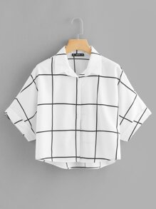 Rolled Sleeve Dip Hem Grid Shirt