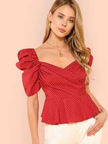Wrap Front Polka Dot Top
