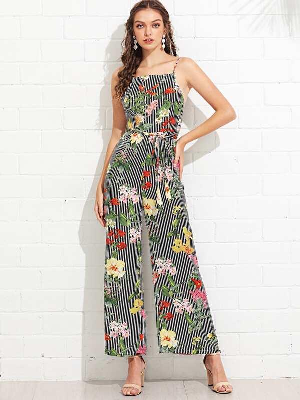 372f449badb Striped   Floral Wide Leg Cami Jumpsuit