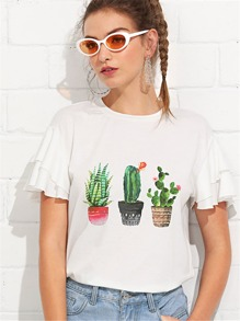 Layered Butterfly Sleeve Cactus Print Tee