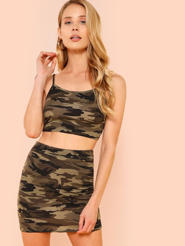 512b911e2c481 Camouflage Crop Cami Top & Skirt Co-Ord | SHEIN UK