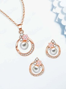 Ring Pendant Necklace 1pc & Earrings 1pair