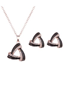 Hollow Triangle Necklace 1pc & Earrings 1pair