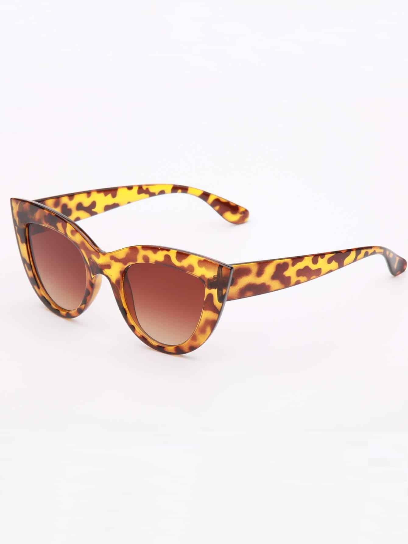 Leopard-Rahmen-Katzenaugen-Sonnenbrille- German romwe