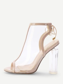 Lace Up Clear Chunky Heeled Sandals