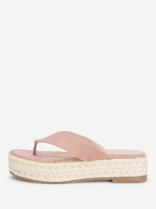 Toe Post Suede Flatform Sandals