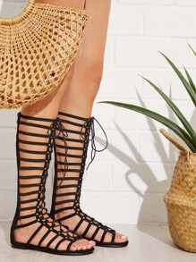 Lace Up Front Caged Flat Sandals