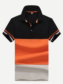 Men Contrast Panel Varsity Striped Polo Shirt