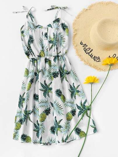 1c265c220f Home · Clothing · Dresses  Pineapple Print Pleated Cami Dress