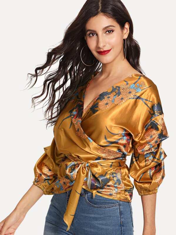 5bd389dd612c82 Cheap Surplice Wrap Self Tie Floral Satin Blouse for sale Australia | SHEIN