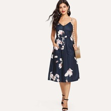 Floral Print Button Front Cami Dress dress180528923