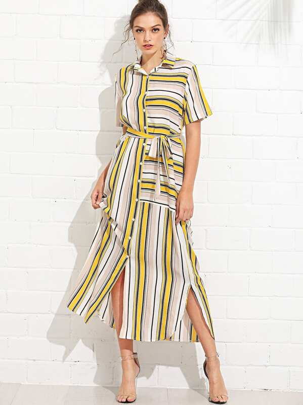 e13a34e0d8ef Contrast Striped Knot Side Shirt Dress