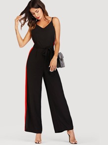 Self Tie Waist Striped Side Cami Jumpsuit