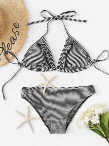Striped Frill Trim Halter Top Bikini