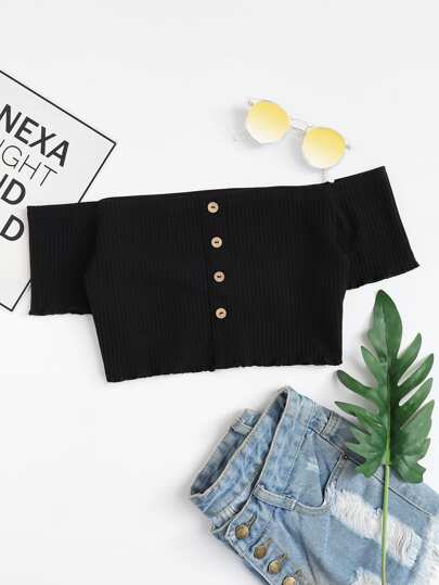 Button Front Rib Knit Bardot Crop Tee