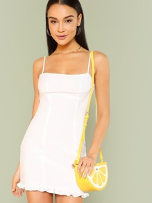 Frilled Hem Fitted Cami Dress