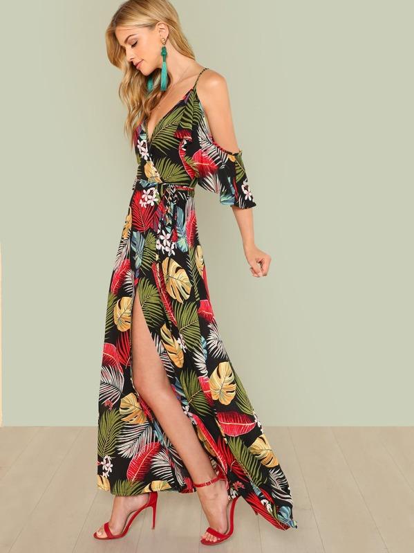 ea18428f672 Tropical Cold Shoulder Split Maxi Wrap Dress