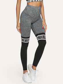 Cut And Sew Letter Graphic Leggings
