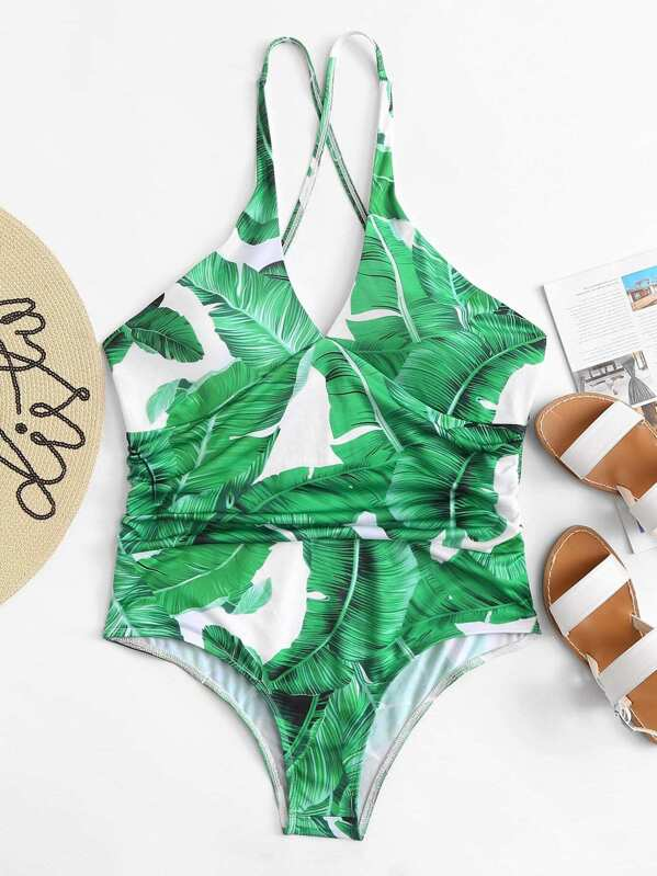 07531158ba Plus Jungle Print Ruched Criss Cross One Piece Swimsuit   SHEIN UK