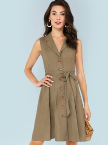 Notch Collar Self Belted Button Up Dress
