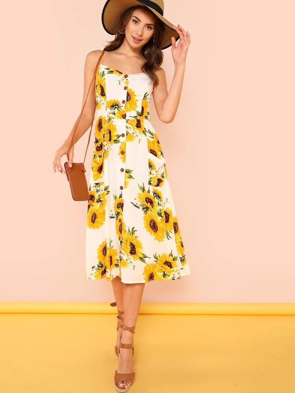 5fde9d6d0266 Cheap Sunflower Print Button Up Cami Dress for sale Australia