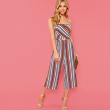 - Cut And Sew Cut Out Striped Tube Jumpsuit