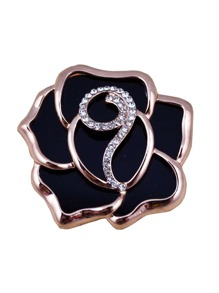 Rhinestone Rose Design Brooch