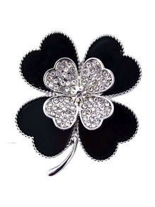 Two Tone Clover Design Brooch