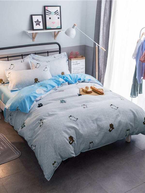 Bettwäsche Mit Katze Und Wolkemuster Shein