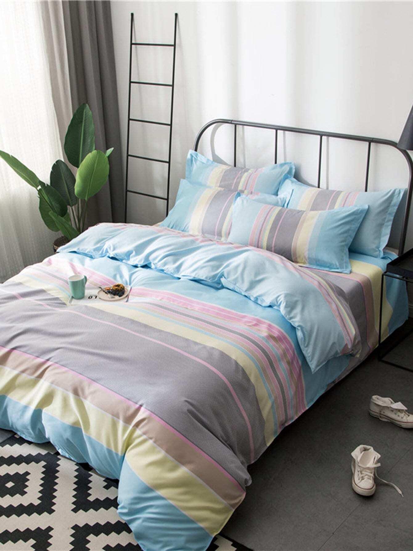 ensemble de draps imprim rayures french shein sheinside. Black Bedroom Furniture Sets. Home Design Ideas