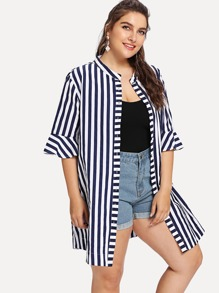 Plus Striped Flounce Sleeve Blouse