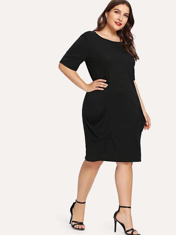 venta de tienda outlet nuevo estilo de vida claro y distintivo Vestido sencillo con diseño de bolsillo de talla grande