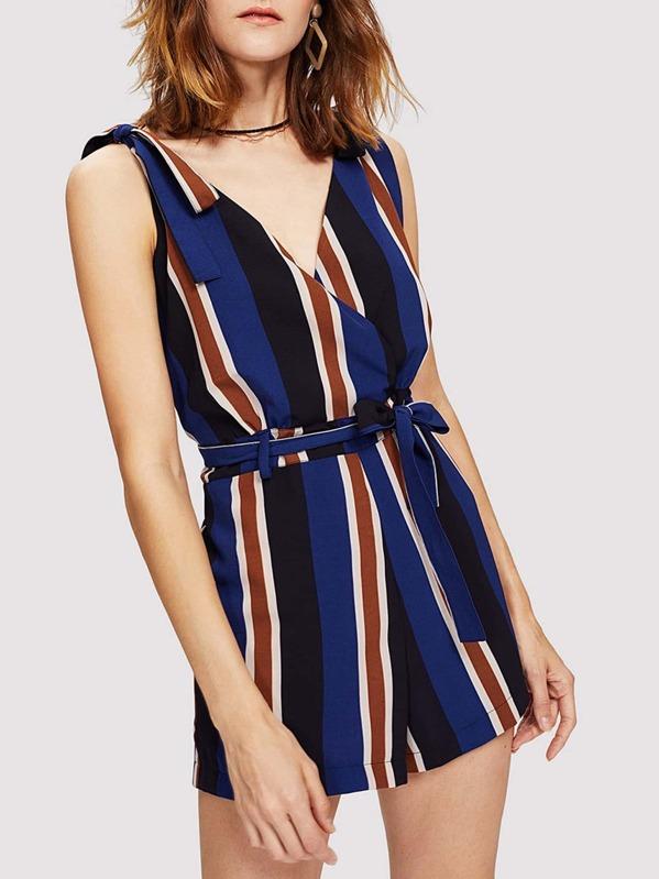 38f67abd277 Self Tie Waist Striped Wrap Jumpsuit
