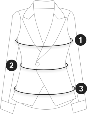 Pocket Front Grid Waterfall Coat (Black) size measurement guide