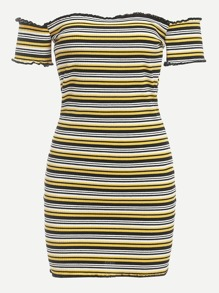 Off Shoulder Lettuce Trim Striped Dress