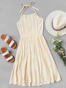 Striped Shirred Back Halter Dress