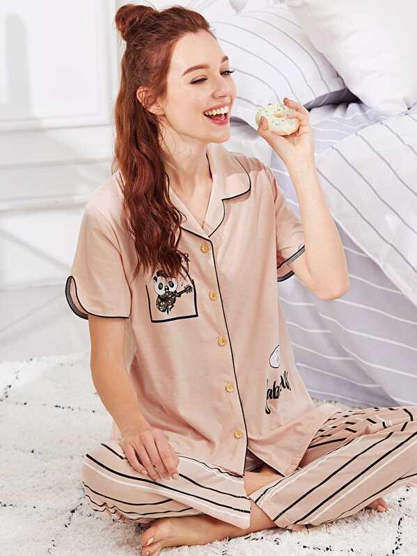 fed5718bd2 Panda & Letter Print Striped Pajama Set | SHEIN