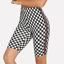 - Letter Side Plaid Cycling Shorts