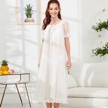 SHEIN | Knot Front Lace Trim Semi Sheer Nightdress | Goxip