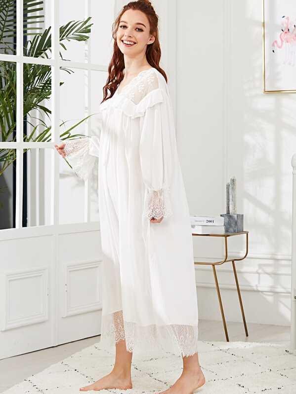 12b83eafd1252 Cheap Eyelash Lace Trim Ruffle Nightdress for sale Australia   SHEIN