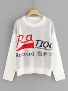 Drop Shoulder Lettering Jumper